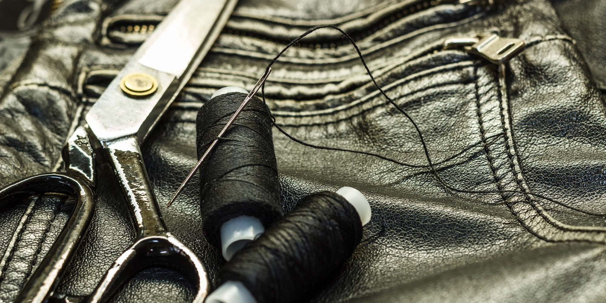 Sewing leather jacket